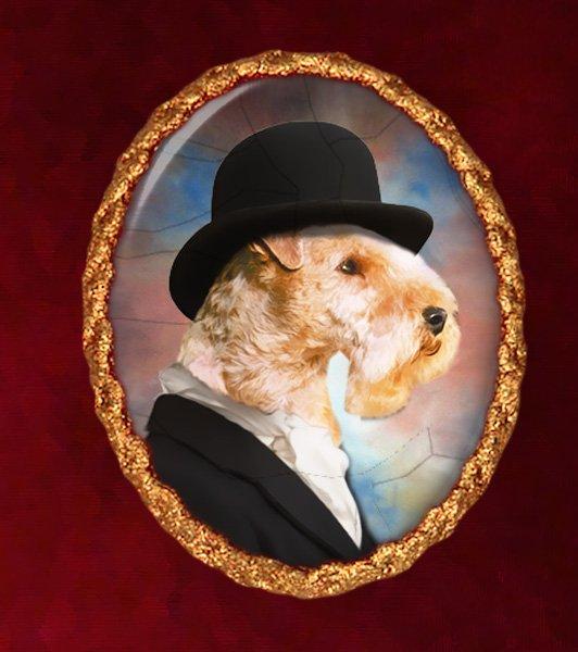 Lakeland Terrier Jewelry Brooch Handcrafted Ceramic - Gentleman