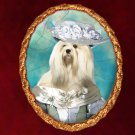 Lhasa Apso Jewelry Brooch Handcrafted Ceramic - Noble Lady Gold Frame