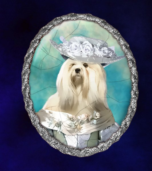 Lhasa Apso Jewelry Brooch Handcrafted Ceramic - Noble Lady Silver Frame