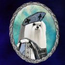 Maltese Jewelry Brooch Handcrafted Ceramic - Tudor Lady Silver Frame