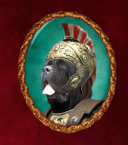 Neapolitan Mastiff Jewelry Brooch Handcrafted Ceramic - Cesare