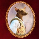 Mexican Hairless Dog Jewelry Brooch Handcrafted Ceramic - Fencer