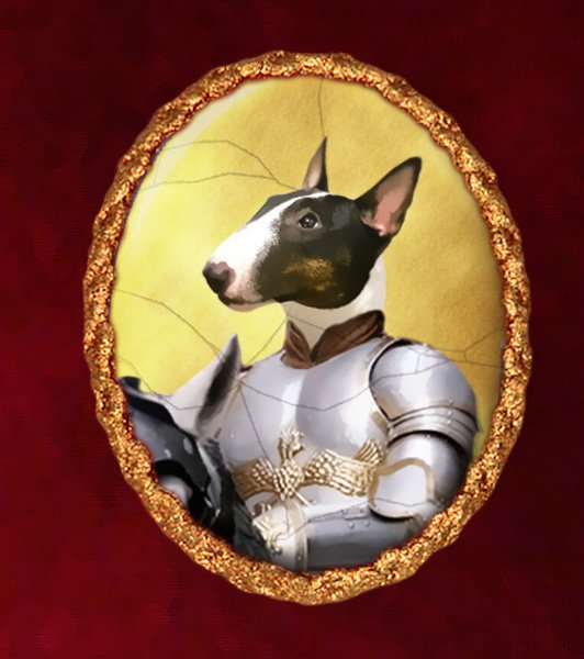 Miniature Bullterrier Jewelry Brooch Handcrafted Ceramic - Knight