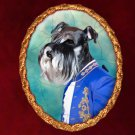 Miniature Schnauzer Jewelry Brooch Handcrafted Ceramic - Blue Duke