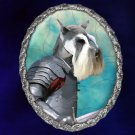 Miniature Schnauzer Jewelry Brooch Handcrafted Ceramic - Brave Knight Silver Frame