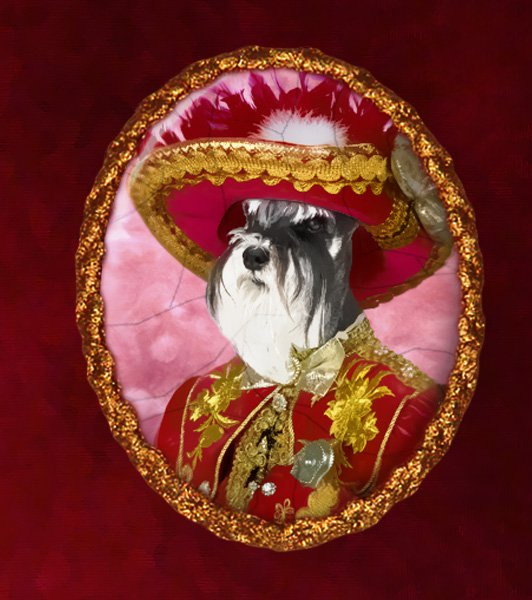 Miniature Schnauzer Jewelry Brooch Handcrafted Ceramic - Red Pirate