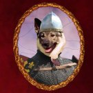 Norwegian Elkhound Jewelry Brooch Handcrafted Ceramic - Knight