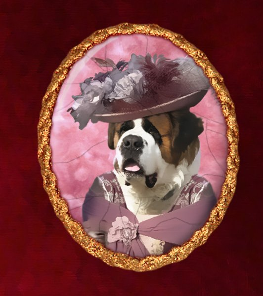 Saint Bernard Jewelry Brooch Handcrafted Ceramic - Pink Lady