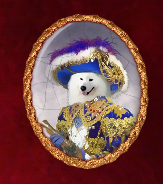 Samoyed Jewelry Brooch Handcrafted Ceramic - Pirate