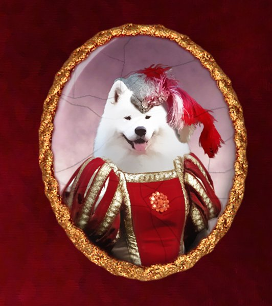 Samoyed Jewelry Brooch Handcrafted Ceramic - Red Lady