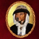 Schiller Hound Jewelry Brooch Handcrafted Ceramic -  Middle Age Lady