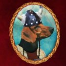 Schiller Hound Jewelry Brooch Handcrafted Ceramic -   Viking Gold Frame