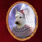 Scottish Terrier Jewelry Brooch Handcrafted Ceramic -  Middle Age Lady