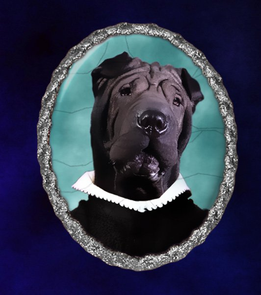 Shar Pei Jewelry Brooch Handcrafted Ceramic - Black Duke Silver Frame