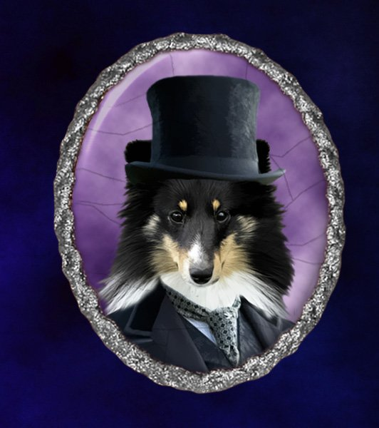 Shetland Sheepdog Jewelry Brooch Handcrafted Ceramic - Black Gentleman Silver Frame