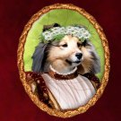 Shetland Sheepdog Jewelry Brooch Handcrafted Ceramic - Middle Age Lady