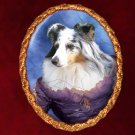 Shetland Sheepdog Jewelry Brooch Handcrafted Ceramic - Noble Lady