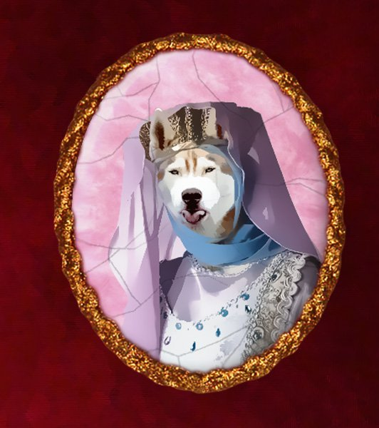 Siberian Husky Jewelry Brooch Handcrafted Ceramic - Middle Age Princess