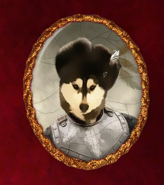 Siberian Husky Jewelry Brooch Handcrafted Ceramic - Russian Duke Gold Frame