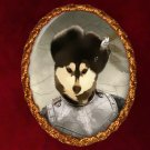 Siberian Husky Jewelry Brooch Handcrafted Ceramic - Russian Duke Gold Frame