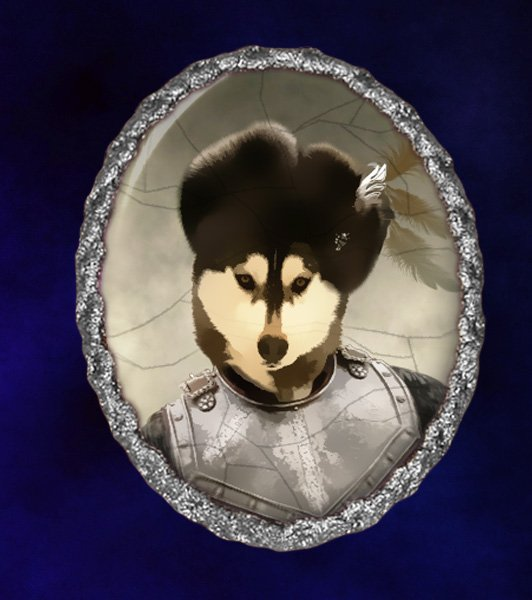 Siberian Husky Jewelry Brooch Handcrafted Ceramic - Russian Duke Silver Frame