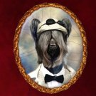 Skye Terrier Jewelry Brooch Handcrafted Ceramic -  Gentleman Gold Frame