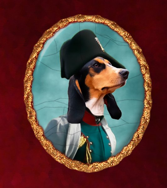 Small Swiss Hound Berner Jewelry Brooch Handcrafted Ceramic - Napoleon's Soldier