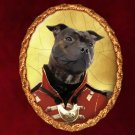 Staffordshire Bull Terrier Jewelry Brooch Handcrafted Ceramic - Soldier