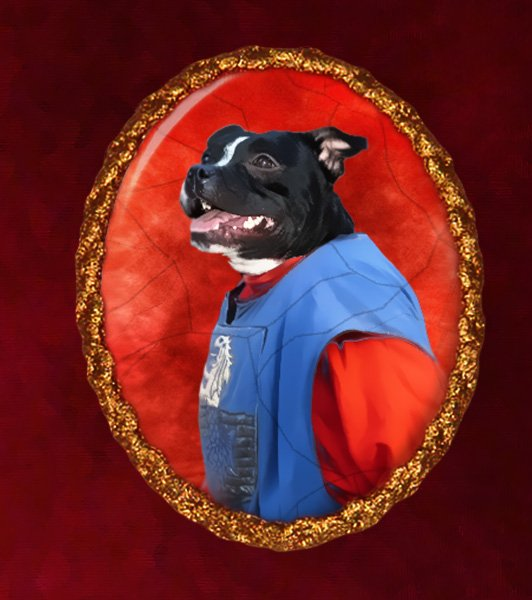 Staffordshire Bull Terrier Jewelry Brooch Handcrafted Ceramic - Warrior