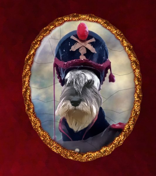 Schnauzer Jewelry Brooch Handcrafted Ceramic - Soldier Gold Frame