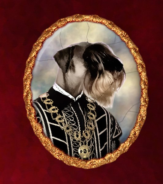 Schnauzer Jewelry Brooch Handcrafted Ceramic -  Tudor Duke Gold Frame