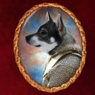 Swedish Elkhound Jewelry Brooch Handcrafted Ceramic - Warrior