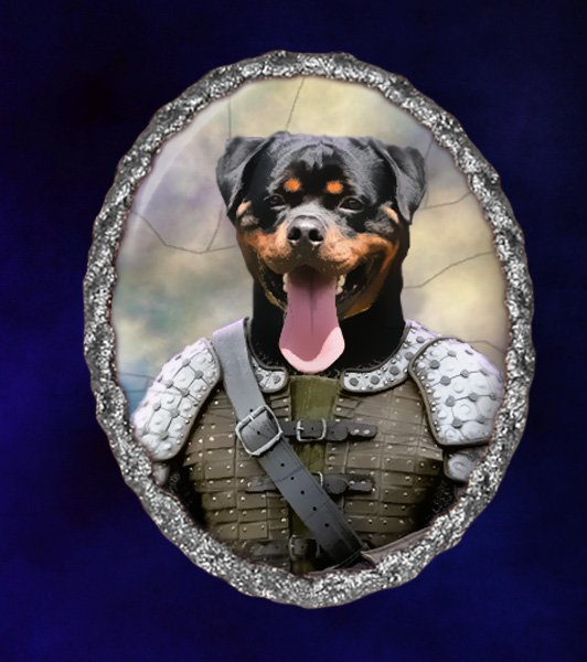 Rottweiler Jewelry Brooch Handcrafted Ceramic - Knight Silver Frame