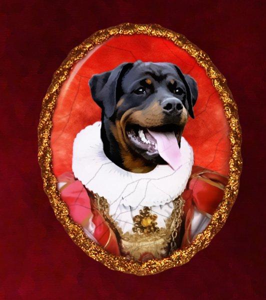Rottweiler Jewelry Brooch Handcrafted Ceramic - Queen