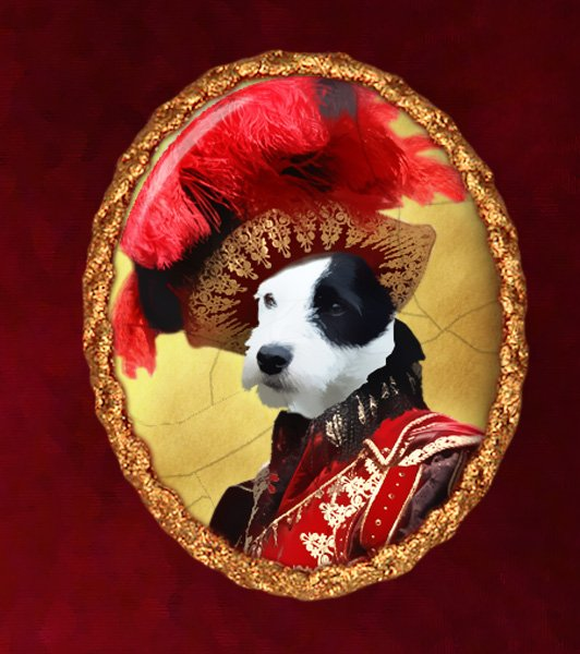 Parson Russell Terrier Jewelry Brooch Handcrafted Ceramic - Red Baron