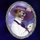 Parson Russell Terrier Jewelry Brooch Handcrafted Ceramic - Titanic Lady Silver Frame
