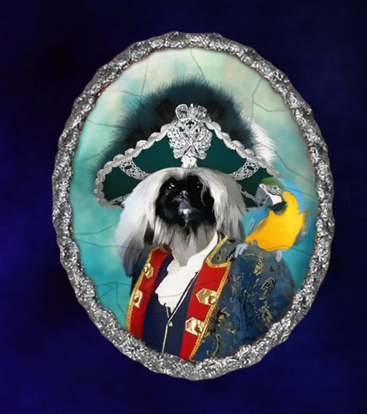 Pekingese Jewelry Brooch Handcrafted Ceramic - Pirate with Ara Silver Frame