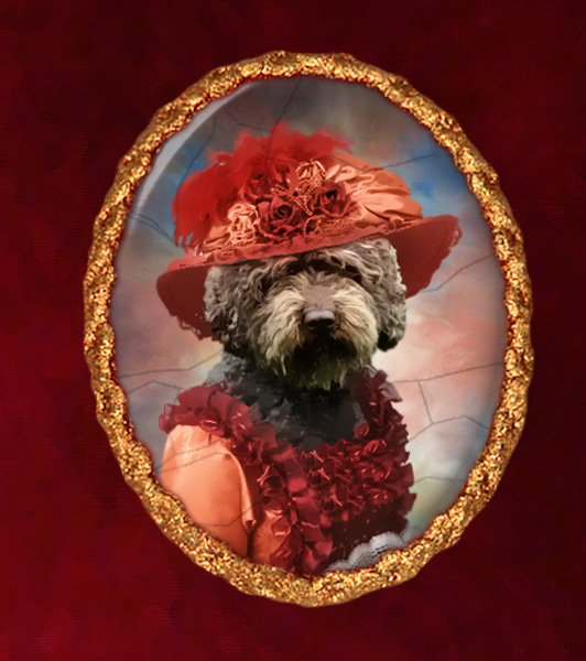 Spanish Waterdog Jewelry Brooch Handcrafted Ceramic - Red Lady