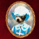 Spanish Waterdog Jewelry Brooch Handcrafted Ceramic - Pirate Gold Frame
