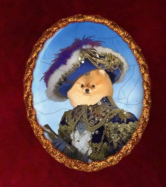 Pomeranian Jewelry Brooch Handcrafted Ceramic - Pirate