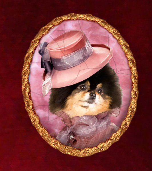 Pomeranian Jewelry Brooch Handcrafted Ceramic - Pink Lady