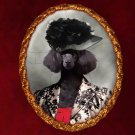 Poodle Jewelry Brooch Handcrafted Ceramic - Black Lady Gold Frame