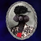Poodle Jewelry Brooch Handcrafted Ceramic - Black Lady Silver Frame