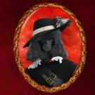Poodle Jewelry Brooch Handcrafted Ceramic - Black Pirate