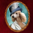 Standard Poodle Jewelry Brooch Handcrafted Ceramic - Lady with Big Hat