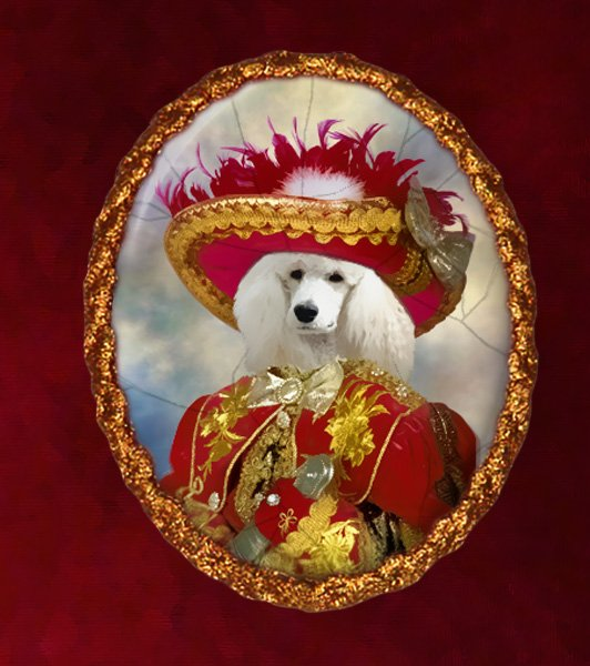 Standard Poodle Jewelry Brooch Handcrafted Ceramic - Red Pirate