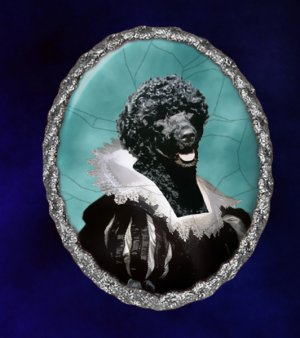 Portuguese Water Dog Jewelry Brooch Handcrafted Ceramic -  Flemish Lady Silver Frame