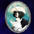 Portuguese Water Dog Jewelry Brooch Handcrafted Ceramic - Horse Rider Silver Frame
