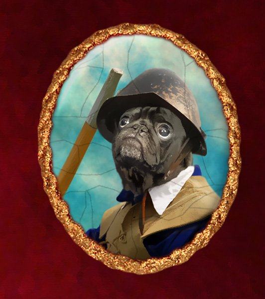 Pug Jewelry Brooch Handcrafted Ceramic - Civil War Soldier Gold Frame