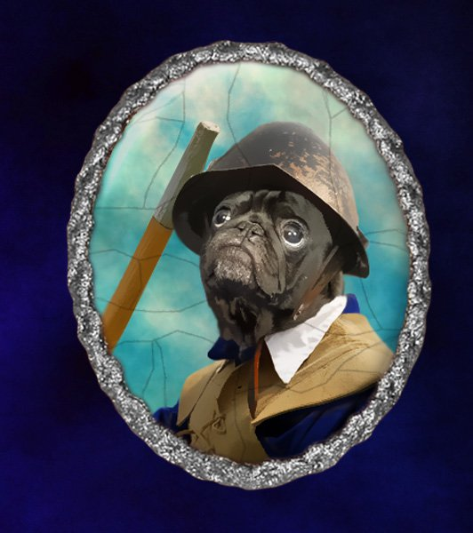 Pug Jewelry Brooch Handcrafted Ceramic - Civil War Soldier Silver Frame